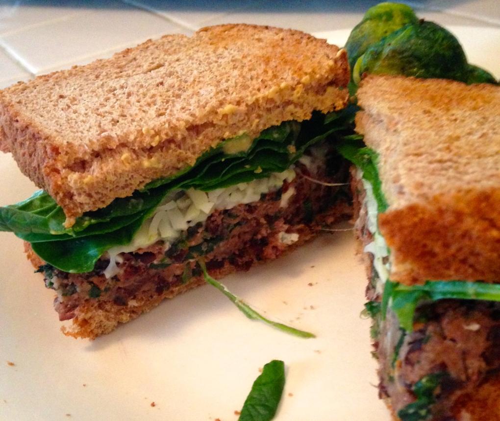 Spinach Feta Black Bean Burger